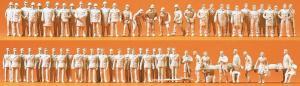 Сет модель из 60-ти некрашенных фигурок пожарных,полицейских и медиков.Пр-во PREISER.Арт.16339.Масштаб HO (1:87).