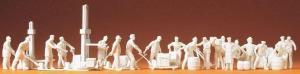 Сет модель из 21-й некрашенных фигурок рабочих на складе с механизмами.Пр-во PREISER.Арт.16348.Масштаб HO (1:87).