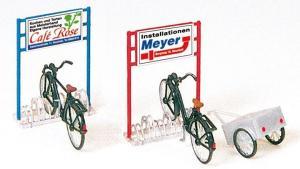 Сет модель для сборки велосипедной парковки с велосипедами.Пр-во PREISER.Арт.17163.Масштаб HO (1:87).