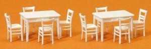 Сет модель 2-х белых столов и 8-ми белых стульев.Пр-во PREISER Арт.17217.Масштаб НО (1:87).