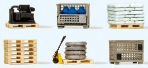 Сет модель паллеты деревянные и сеточные пустые и с грузом (готовая модель).Пр-во PREISER.Арт.17704.Масштаб HO (1:87).
