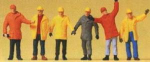 Сет фигурок строительных рабочих в плащах и касках.Фирма PREISER.Арт.14034.Масштаб НО (1:87).