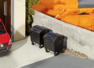 Модель 2-х пластиковых черных контейнеров для мусора.Пр-во FALLER.Арт.180933.Масштаб НО (1:87).