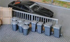 Модель 12-ти пластиковых контейнеров для мусора.Пр-во FALLER.Арт.180905.Масштаб НО (1:87).