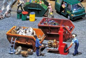 Модель 2-х открытых контейнеров для мусора.Пр-во FALLER.Арт.180908.Масштаб НО (1:87).