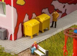 Модель 2-х желтых пластиковых контейнеров для мусора.Пр-во FALLER.Арт.180913.Масштаб НО (1:87).