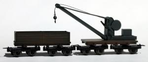 Модель сета 2-х вагонов платформ с краном.Пр-во MINITRAINS.Арт.5120.Масштаб НОе (1:87).