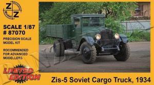 Модель ZIS-5 Cargo Truck 1934-для самостоятельной сборки.Пр-во Z@Z.Арт.87070.Масштаб 1:87 (НО).