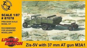 Модель ZIS-5V with 37mm AT gun M3A1-для самостоятельной сборки.Пр-во Z@Z.Арт.87078.Масштаб 1:87 (НО).