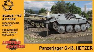 Модель танка Panzerjager G-13 HETZER-для самостоятельной сборки.Пр-во Z@Z.Арт.87062.Масштаб 1:87 (НО).