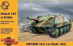 Модель танка HETZER 10.5 cm StuH. 42/2-для самостоятельной сборки.Пр-во Z@Z.Арт.87064.Масштаб 1:87 (НО).