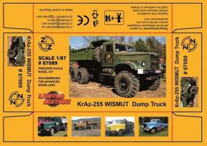 Модель KrAZ 255 WISMUT Dump Truck-для самостоятельной сборки.Пр-во Z@Z.Арт.87089.Масштаб 1:87 (НО).